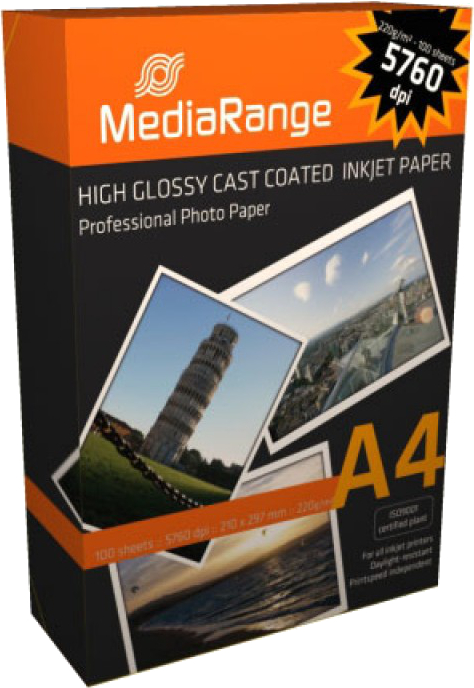 Hartie MediaRange High Glossy Foto A4 100 coli