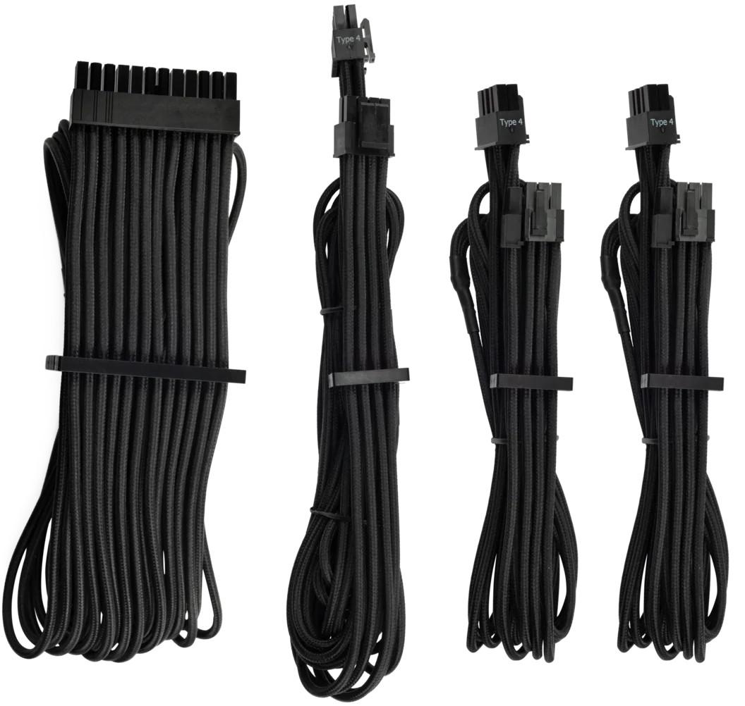 Cablu componente Corsair Premium Individually Sleeved PSU Cables Starter Kit Type 4 Gen 4 – Black