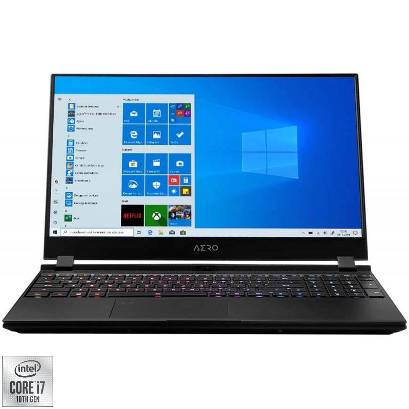 Laptop GIGABYTE Gaming 15.6'' AERO 15 XC, FHD 144Hz, Procesor Intel® Core™ i7-10870H (16M Cache, up to 5.00 GHz), 16GB DDR4, 512GB SSD, GeForce RTX 3070 8GB, Win 10 Home, Black