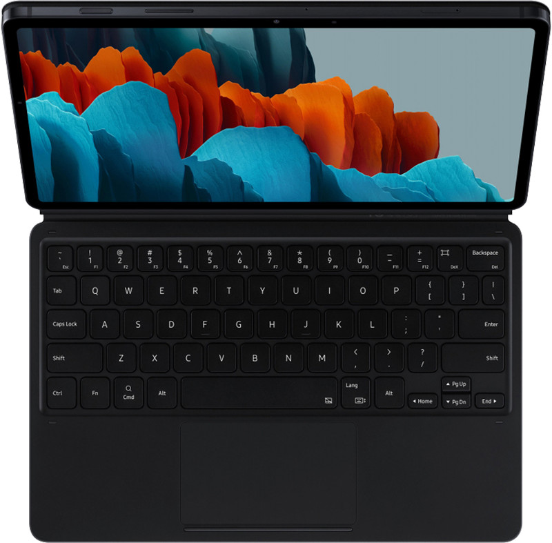 Samsung Husa de protectie tip stand Book Cover Black cu tastatura pentru Galaxy Tab S7 Plus 12.4 inch